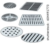 vector set of cover the drain | Shutterstock .eps vector #604491773