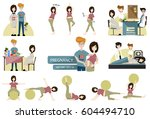 young happy couple. pregnant... | Shutterstock .eps vector #604494710