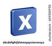 3d blue square any letter icon... | Shutterstock .eps vector #604500950