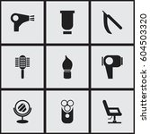 set of 9  hairdresser icons....