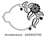 silhouette round frame.... | Shutterstock .eps vector #604503740