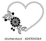 heart shaped black and white... | Shutterstock .eps vector #604504364