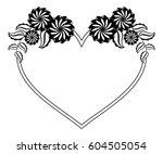 heart shaped black and white... | Shutterstock .eps vector #604505054