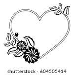 heart shaped black and white... | Shutterstock .eps vector #604505414