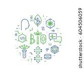 vector linear concept of bio... | Shutterstock .eps vector #604506059