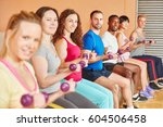 people training with weights at ... | Shutterstock . vector #604506458