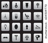 set of 16  hairstylist icons....