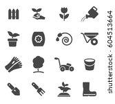 vector black gardening icons... | Shutterstock .eps vector #604513664