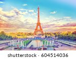 eiffel tower and fountain at... | Shutterstock . vector #604514036