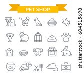 Stock vector pet shop icons thin line flat design 604515698