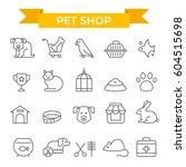 pet shop icons  thin line  flat ...   Shutterstock .eps vector #604515698