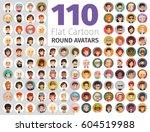 big set of 110 flat cartoon... | Shutterstock .eps vector #604519988