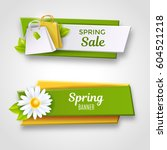 spring sale banners  vector... | Shutterstock .eps vector #604521218