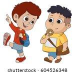 kid walking to school.back to...   Shutterstock .eps vector #604526348