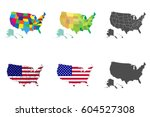 usa map set. collection united...   Shutterstock .eps vector #604527308