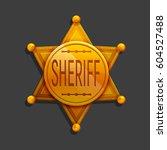 cartoon golden hexagonal star... | Shutterstock .eps vector #604527488