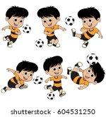 set of cartoon soccer kid...   Shutterstock .eps vector #604531250