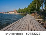 Pier in Vaasa with train station and university on background - stock photo