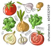 set illustration vegan mix with ... | Shutterstock .eps vector #604532939