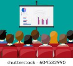 projector screen with financial ... | Shutterstock .eps vector #604532990