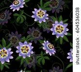 passiflora seamless pattern.... | Shutterstock .eps vector #604536038