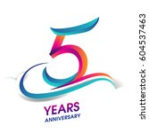 five years anniversary... | Shutterstock .eps vector #604537463
