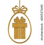 happy easter. golden glitter.... | Shutterstock .eps vector #604537640