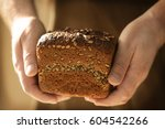 male chef with loaf of bread ... | Shutterstock . vector #604542266