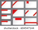 red and gold tag with corner... | Shutterstock .eps vector #604547144