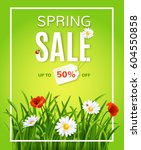 spring sale poster template... | Shutterstock .eps vector #604550858