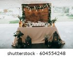 amazing decor in eco style on... | Shutterstock . vector #604554248