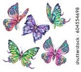 watercolor set of vintage... | Shutterstock . vector #604554698