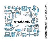 mechanic. auto engine repair...   Shutterstock .eps vector #604556324