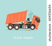 truck repair. shop. flat vector ... | Shutterstock .eps vector #604556654