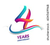 four years anniversary... | Shutterstock .eps vector #604569968