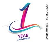 one year anniversary... | Shutterstock .eps vector #604570220