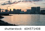 tokyo harbor at sunset. view... | Shutterstock . vector #604571408