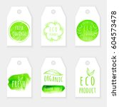 set of eco friendly labels.... | Shutterstock .eps vector #604573478