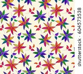 floral doodle seamless pattern. ... | Shutterstock .eps vector #604573538