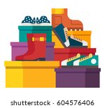 shoes sale in store. shoe boxes ... | Shutterstock .eps vector #604576406