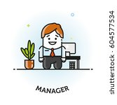 office manager flat vector icon