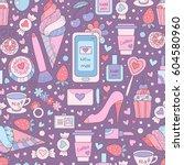 vector doodle seamless pattern... | Shutterstock .eps vector #604580960