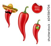 hot chilli pepper big set with... | Shutterstock .eps vector #604584704