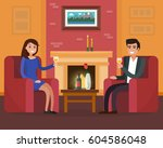 cozy room interior with chairs... | Shutterstock .eps vector #604586048