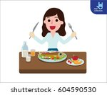 happy young woman eating... | Shutterstock .eps vector #604590530
