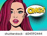 wow pop art female face. sexy... | Shutterstock .eps vector #604592444