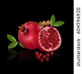 fresh pomegranate fruits... | Shutterstock .eps vector #604596920