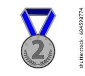 silver medal sign. symbol of... | Shutterstock .eps vector #604598774