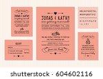 vintage wedding invitation... | Shutterstock .eps vector #604602116