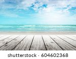 old wood table top on blurred... | Shutterstock . vector #604602368
